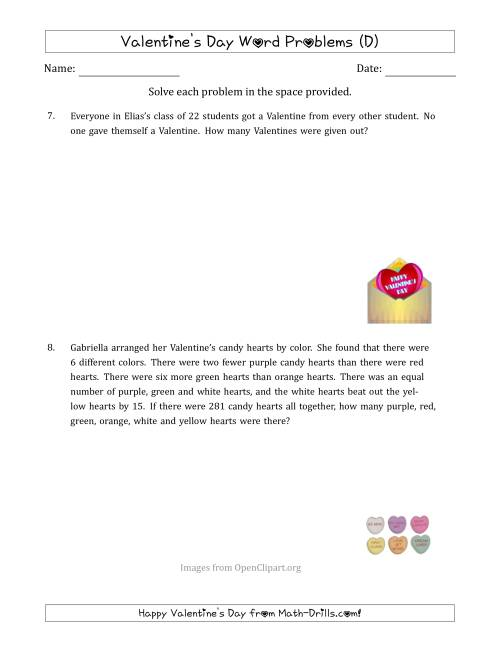 The Valentine's Day Math Word Problems (Multi-Step) (D) Math Worksheet
