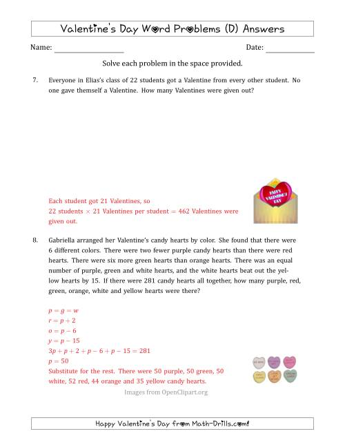 The Valentine's Day Math Word Problems (Multi-Step) (D) Math Worksheet Page 2