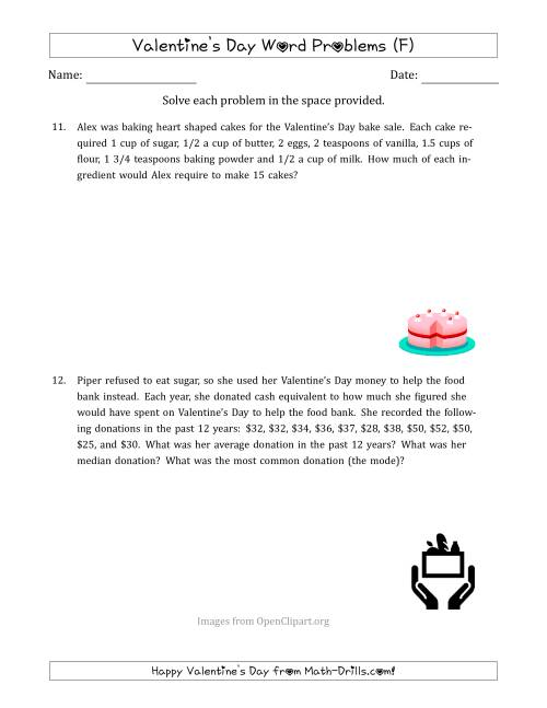 The Valentine's Day Math Word Problems (Multi-Step) (F) Math Worksheet