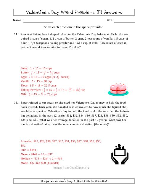 The Valentine's Day Math Word Problems (Multi-Step) (F) Math Worksheet Page 2