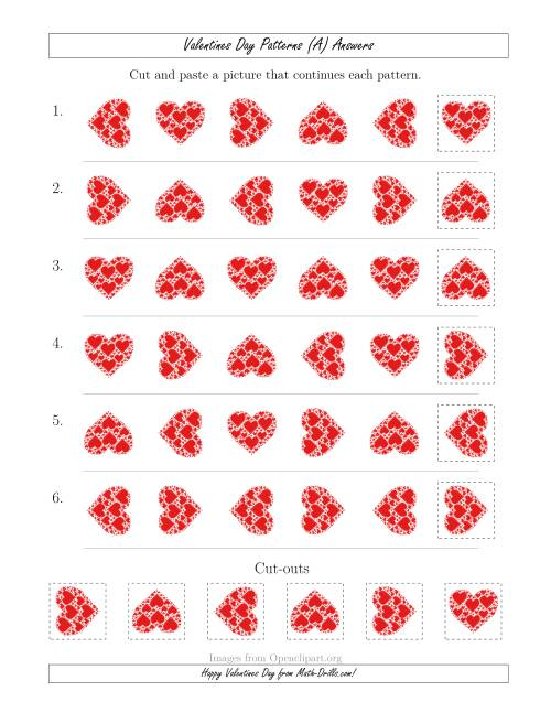 The Valentines Day Picture Patterns with Rotation Attribute Only (A) Math Worksheet Page 2