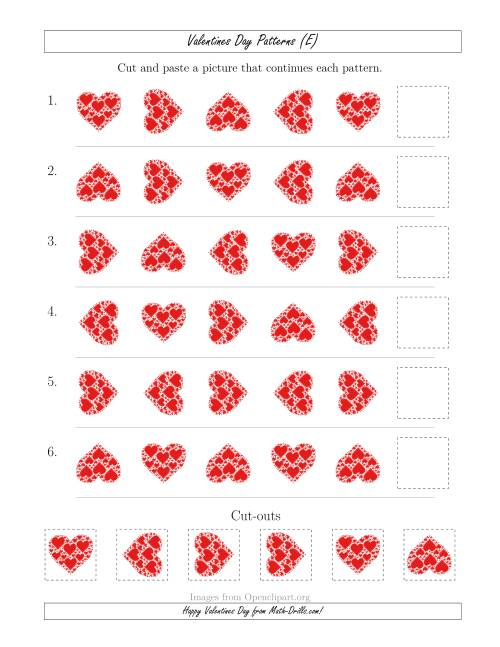 The Valentines Day Picture Patterns with Rotation Attribute Only (E) Math Worksheet