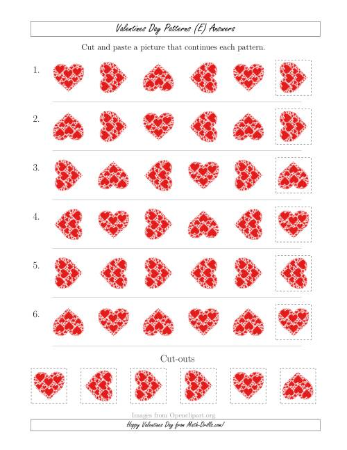 The Valentines Day Picture Patterns with Rotation Attribute Only (E) Math Worksheet Page 2