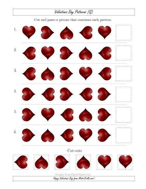 The Valentines Day Picture Patterns with Rotation Attribute Only (G) Math Worksheet