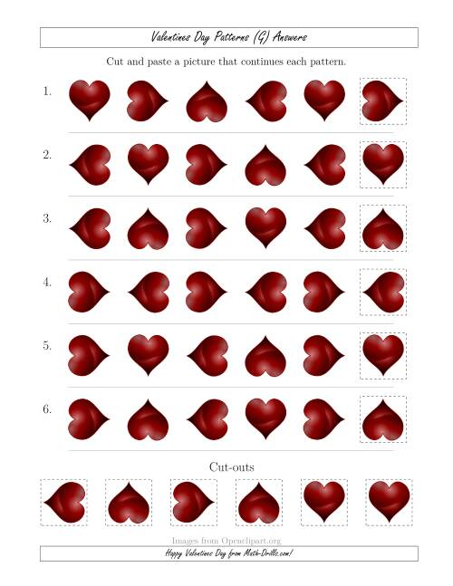 The Valentines Day Picture Patterns with Rotation Attribute Only (G) Math Worksheet Page 2