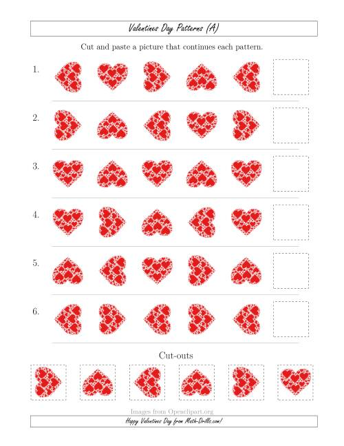 The Valentines Day Picture Patterns with Rotation Attribute Only (All) Math Worksheet