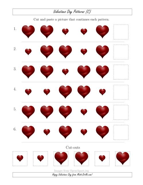 The Valentines Day Picture Patterns with Size Attribute Only (C) Math Worksheet