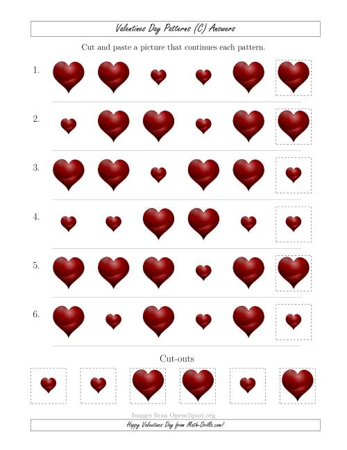 The Valentines Day Picture Patterns with Size Attribute Only (C) Math Worksheet Page 2