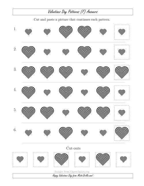 The Valentines Day Picture Patterns with Size Attribute Only (F) Math Worksheet Page 2