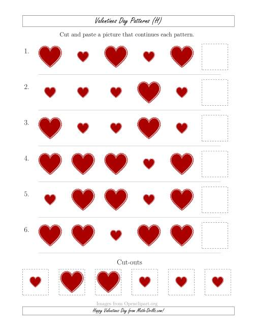 The Valentines Day Picture Patterns with Size Attribute Only (H) Math Worksheet