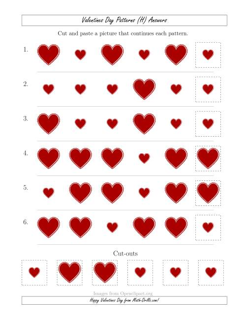 The Valentines Day Picture Patterns with Size Attribute Only (H) Math Worksheet Page 2