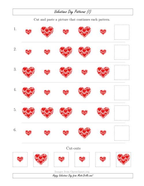 The Valentines Day Picture Patterns with Size Attribute Only (I) Math Worksheet