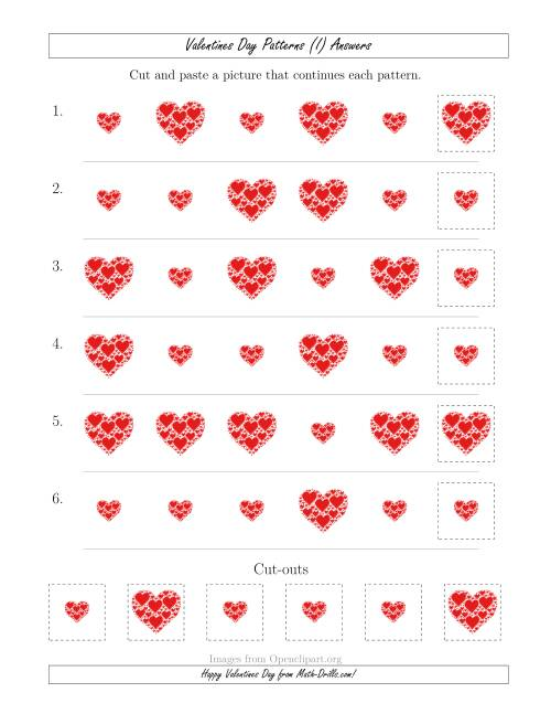 The Valentines Day Picture Patterns with Size Attribute Only (I) Math Worksheet Page 2